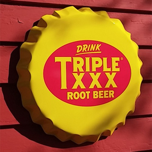Triple XXX Root Beer Bottle Cap Sign